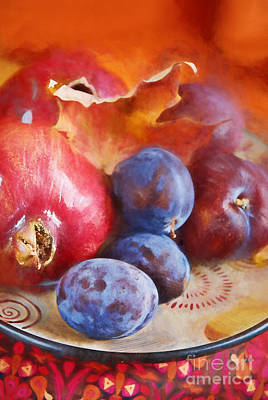 Warm Digital Art - Plums And Pomegranate by HD Connelly