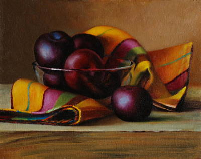 Petrov Painting - Plums And Stripes by Dan Petrov