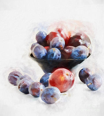 Warm Digital Art - Plums On White by HD Connelly