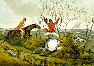 Plunging Through The Hedge From Qualified Horses And Unqualified Riders Print by Henry Thomas Alken