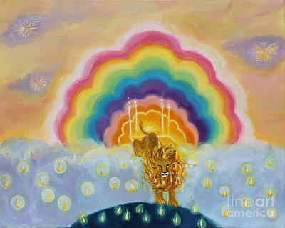 Lion Of Judah Painting - Pms 43 Lion Of Judah On Earth by Anne Cameron Cutri