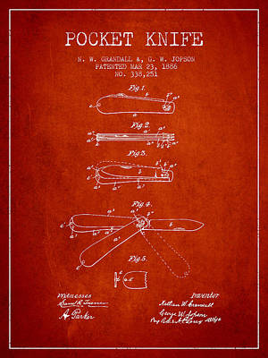 Swiss Digital Art - Pocket Knife Patent Drawing From 1886 - Red by Aged Pixel