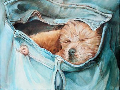 Pocket Puppy Print by Vanessa Bates