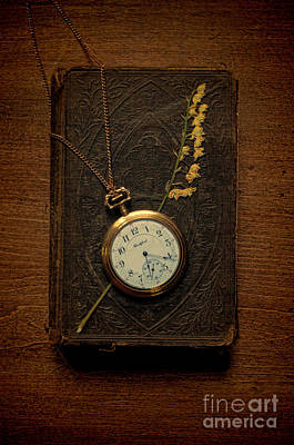 Pocketwatch On Old Book Print by Jill Battaglia