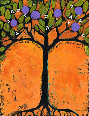 Tangerine Painting - Poe Tree Art by Blenda Studio