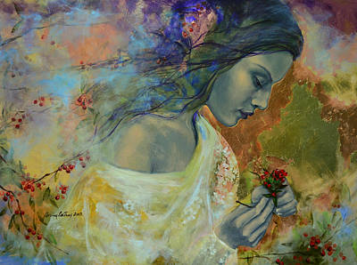 Poem At Twilight Print by Dorina  Costras
