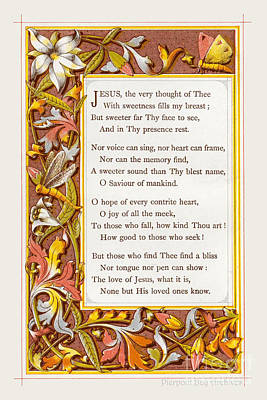 Poem. Jesus The Very Thought Of Thee... Print by Pierpont Bay Archives