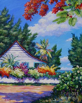 Clark Street Painting - Poinciana And Cottage by John Clark