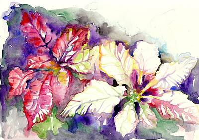 House Decoration Art Painting - Poinsettias House And Garden Plants - Watercolors On Heavy Paper by Tiberiu Soos