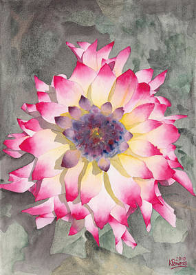 Botanical Painting - Point Defiance Dahlia Two by Ken Powers