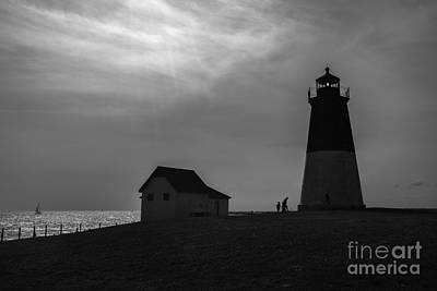 Point Judith Lighthouse Silhouette Print by Diane Diederich