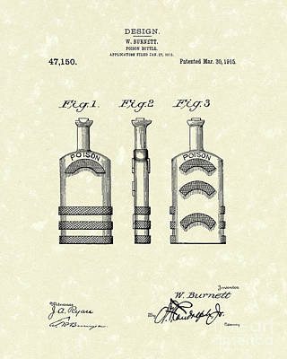 Glass Art Drawing - Poison Bottle 1915 Patent Art by Prior Art Design