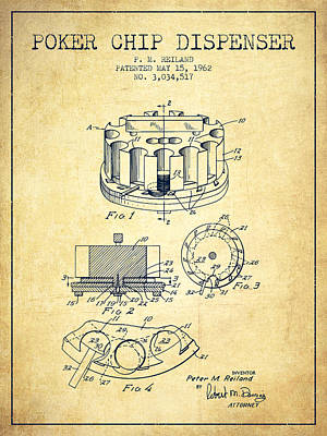 Straight Digital Art - Poker Chip Dispenser Patent From 1962 - Vintage by Aged Pixel