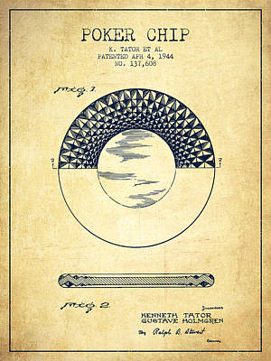 Straight Digital Art - Poker Chip Patent From 1944 - Vintage by Aged Pixel