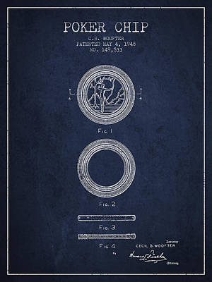 Straight Digital Art - Poker Chip Patent From 1948 - Navy Blue by Aged Pixel