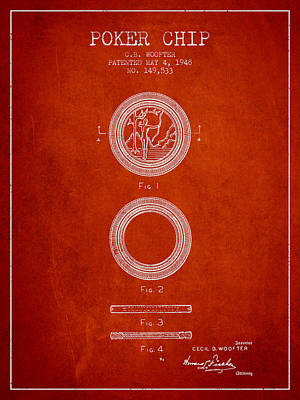 Straight Digital Art - Poker Chip Patent From 1948 - Red by Aged Pixel