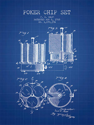 Straight Digital Art - Poker Chip Set Patent From 1928 - Blueprint by Aged Pixel