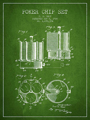 Straight Digital Art - Poker Chip Set Patent From 1928 - Green by Aged Pixel