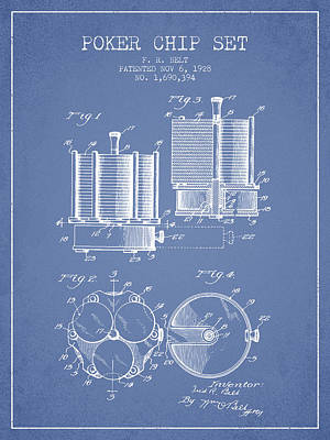 Straight Digital Art - Poker Chip Set Patent From 1928 - Light Blue by Aged Pixel