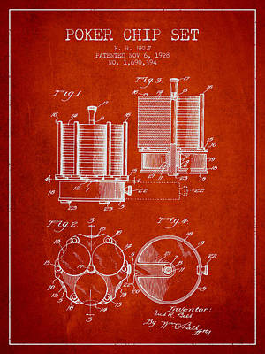 Straight Digital Art - Poker Chip Set Patent From 1928 - Red by Aged Pixel