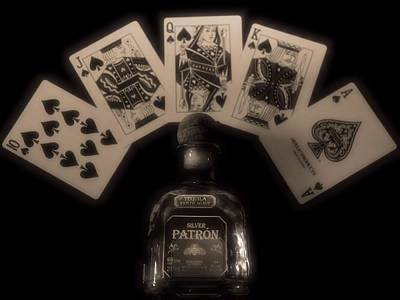 Of Liquor Photograph - Poker Hand And Tequila by Dan Sproul