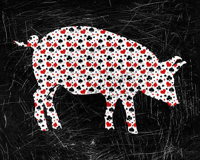 Hearts Digital Art - Poker Pig by Flo Karp