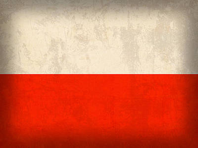 Flag Mixed Media - Poland Flag Distressed Vintage Finish by Design Turnpike