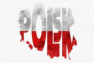 Steampunk Digital Art - Poland Typographic Map Flag by Ayse Deniz