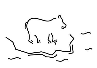 Bear Paw Drawing - Polar Bear Floe Antartkis Polar Bear by Lineamentum