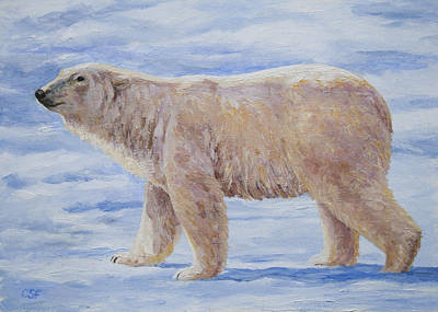 Polar Bear Mini Painting Print by Crista Forest