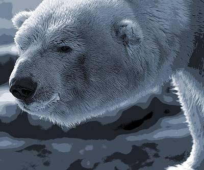 Bear Mixed Media - Polar Bear Poster by Dan Sproul