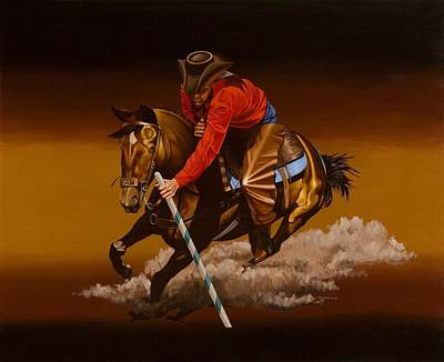 Horse Painting - Pole Racing by Hugh Blanding