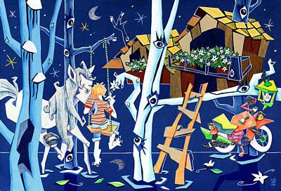 Fantasy Tree Mixed Media - Polesine - Landscape Illustration - Parco Naturale Delta Del Po - Italy by Arte Venezia
