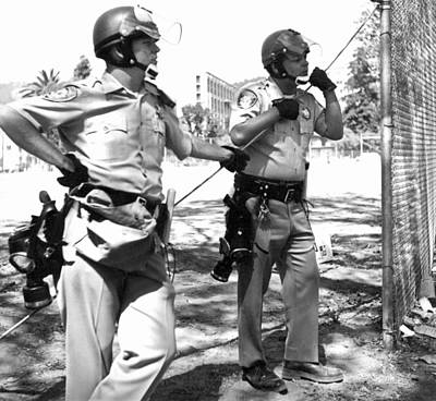 Wire-mesh Photograph - Police At People's Park by Underwood Archives Grierson