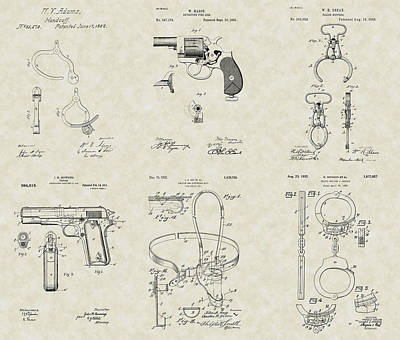 Wall Hanging Drawing - Police Detective Equipment Patent Collection by PatentsAsArt