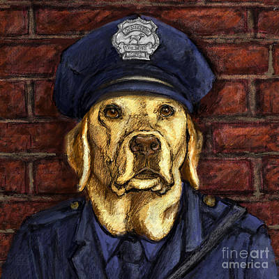 Police Officer Lab - Yellow Labrador Retriever Print by Kathleen Harte Gilsenan