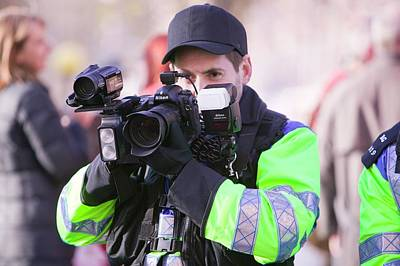 Police Photographing Protestors Print by Ashley Cooper