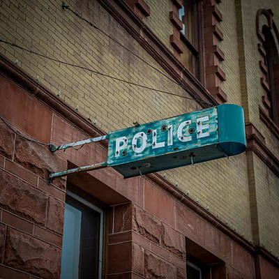 Law Enforcement Art Photograph - Police Station Sign by Paul Freidlund