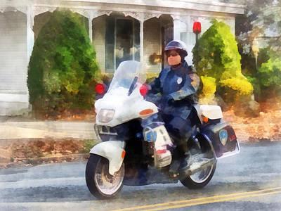 Police - Suburban Motorcycle Cop Print by Susan Savad