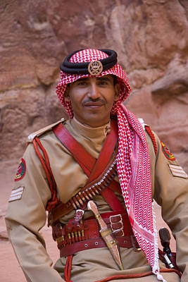 Policeman In Petra Jordan Print by David Smith