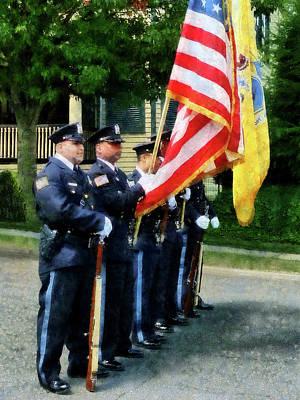 Policeman - Police Color Guard Print by Susan Savad