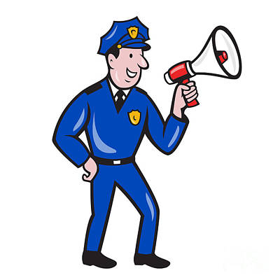 Policeman Shouting Bullhorn Isolated Cartoon Print by Aloysius Patrimonio