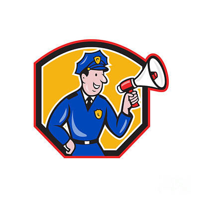 Policeman Shouting Bullhorn Shield Cartoon Print by Aloysius Patrimonio