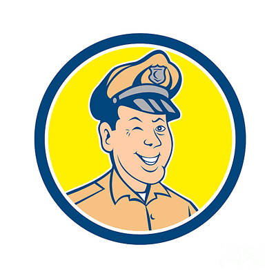 Policeman Winking Smiling Circle Cartoon Print by Aloysius Patrimonio