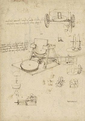 Pen Drawing - Polishing Machine Formed By Two Wheeled Carriage From Atlantic Codex by Leonardo Da Vinci