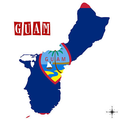 Cuba Painting - Political Map Of Guam by Celestial Images