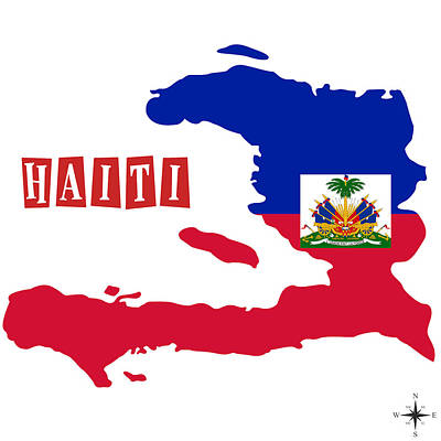 Cuba Painting - Political Map Of Haiti by Celestial Images