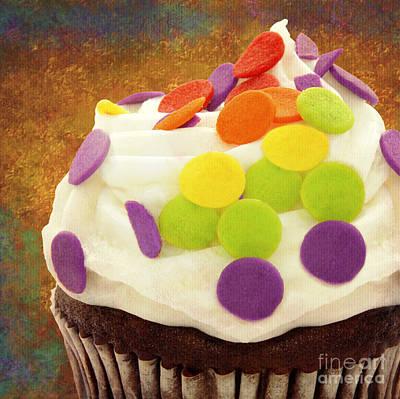 Polka Dot Cupcake 3 Square Print by Andee Design