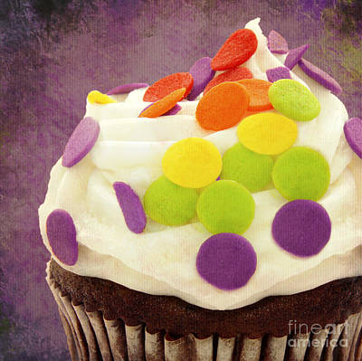 Polka Dot Cupcake 4 Square Print by Andee Design