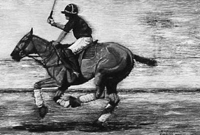 Polo Painting - Polo Down The Field Black And White by Bets Klieger